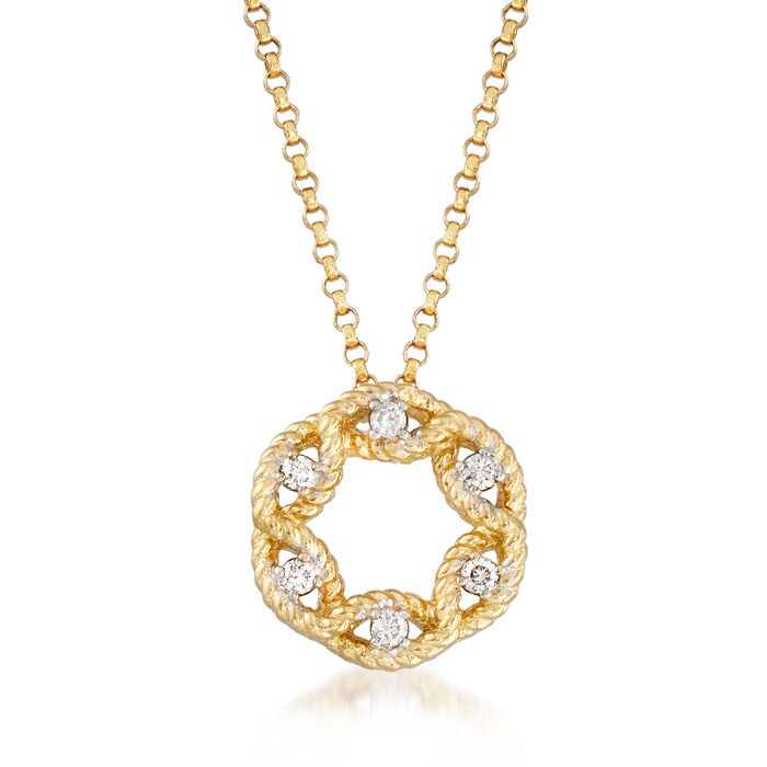 "Roberto Coin ""Barocco"" Diamond Accent Open Cluster Necklace in 18kt Yellow Gold"
