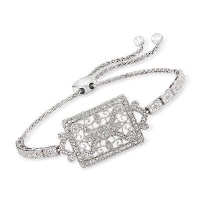 .50 ct. t.w. Diamond Scrollwork Bolo Bracelet in Sterling Silver