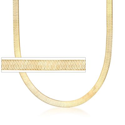 Italian 6mm 24kt Gold Over Sterling Silver Herringbone Chain Necklace