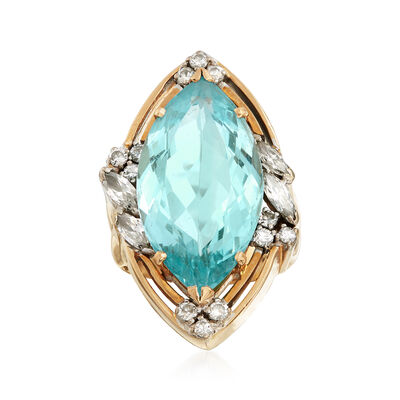 C. 1960 Vintage 11.00 Carat Aquamarine and .85 ct. t.w. Diamond Marquise-Shaped Ring in 14kt Yellow Gold, , default