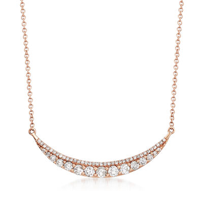 .72 ct. t.w. Curved Bar Necklace in 14kt Rose Gold, , default