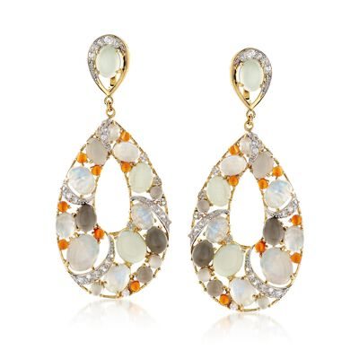 Multi-Stone and 3.30 ct. t.w. White Zircon Teardrop Earrings in 14kt Gold Over Sterling, , default