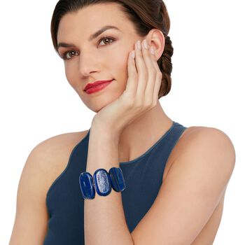 "Oval Blue Lapis Stretch Bracelet. 7"", , default"