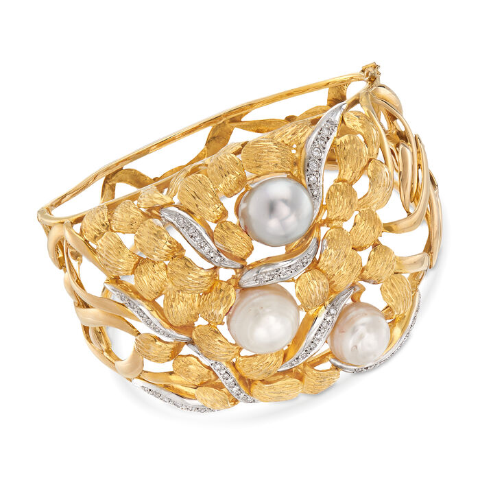 """C. 1970 Vintage Cultured Pearl and .45 ct. t.w. Diamond Bangle Bracelet in 18kt Yellow Gold. 7"""", , default"""