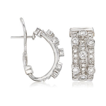 C. 1990 Vintage 1.50 ct. t.w. Diamond Three-Row Hoop Earrings in 18kt White Gold