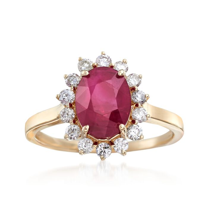 3.00 Carat Burmese Ruby and .42 ct. t.w. Diamond Ring in 14kt Yellow Gold, , default