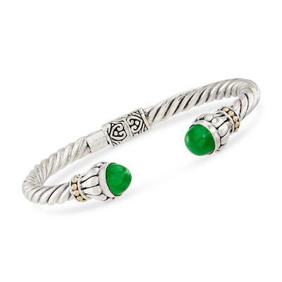 8mm Green Jade Cuff Bracelet in Sterling and 18kt Gold, , default