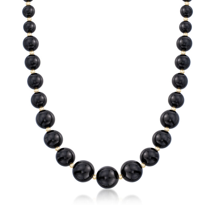 6-14mm Black Onyx Graduated Necklace in 14kt Yellow Gold, , default