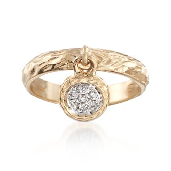 .20 ct. t.w. Black and White Diamond Circle Charm Ring in 14kt Yellow Gold, , default