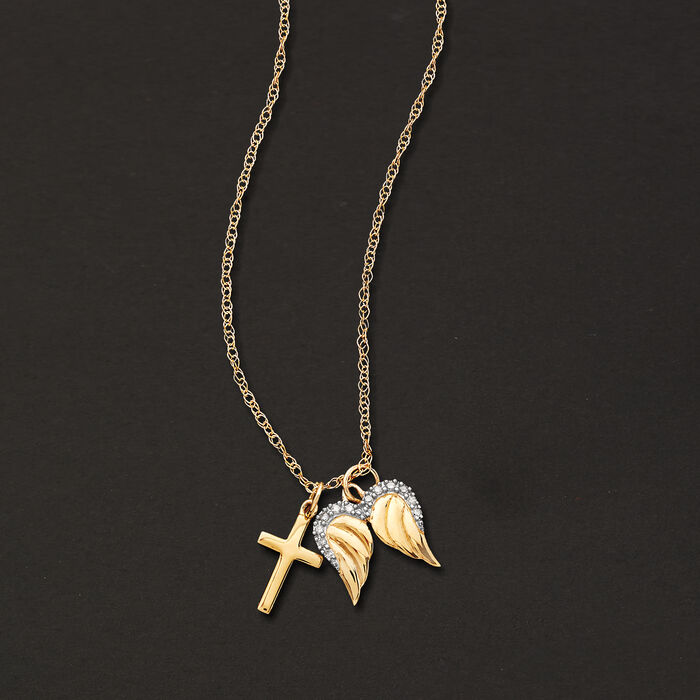 14kt Yellow Gold Cross and Angel Wings Pendant Necklace with Diamond Accents