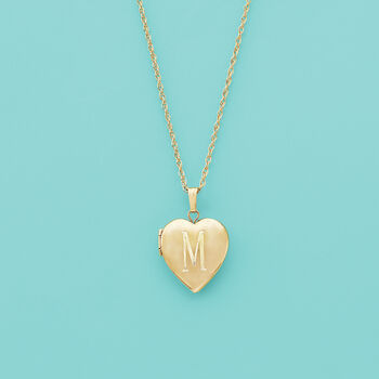 14kt Yellow Gold Single Initial Heart Locket Necklace, , default