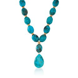 "Turquoise Necklace in 18kt Gold Over Sterling Silver. 18"", , default"