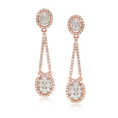 1.50 ct. t.w. Diamond Drop Earrings in 14kt Rose Gold