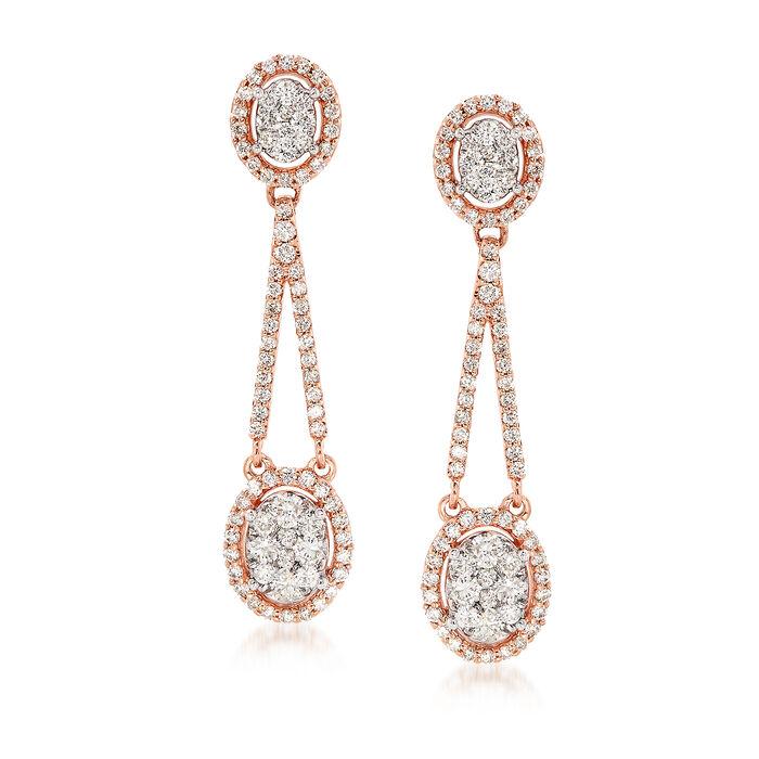 1.50 ct. t.w. Diamond Drop Earrings in 14kt Rose Gold, , default