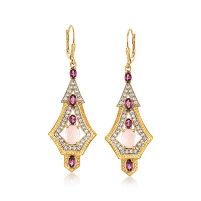 Rose Quartz and 1.90 ct. t.w. Rhodolite Garnet Earrings with 1.50 White Topaz in 18kt Gold Over Sterling, , default