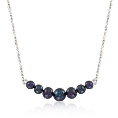 4-8mm Graduated Black Cultured Pearl Necklace in Sterling Silver, , default