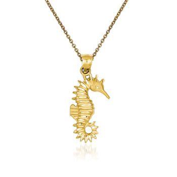 "14kt Yellow Gold Seahorse Pendant Necklace. 18"", , default"