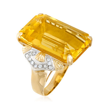 C. 1970 Vintage 31.00 Carat Citrine and .30 ct. t.w. Diamond Ring in 14kt Yellow Gold. Size 8