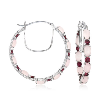 Pink Chalcedony and 2.70 ct. t.w. Rhodolite Garnet Hoop Earrings in Sterling Silver