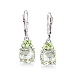 3.60 ct. t.w. Green Amethyst and .20 ct. t.w. Peridot Drop Earrings in Sterling Silver, , default