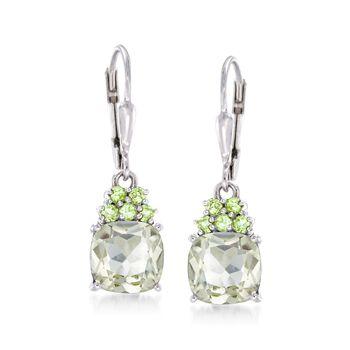 3.60 ct. t.w. Green Amethyst and .20 ct. t.w. Peridot Drop Earrings in Sterling Silver, , default