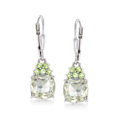 3.60 ct. t.w. Green Prasiolite and .20 ct. t.w. Peridot Drop Earrings in Sterling Silver, , default