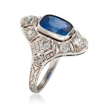 C. 2000 Vintage 2.50 Carat Sapphire and .90 ct. t.w. Diamond Dinner Ring in Platinum. Size 3.5, , default
