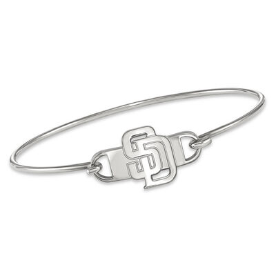 """Sterling Silver MLB San Diego Padres Small Center Wire Bangle Bracelet. 7"""", , default"""
