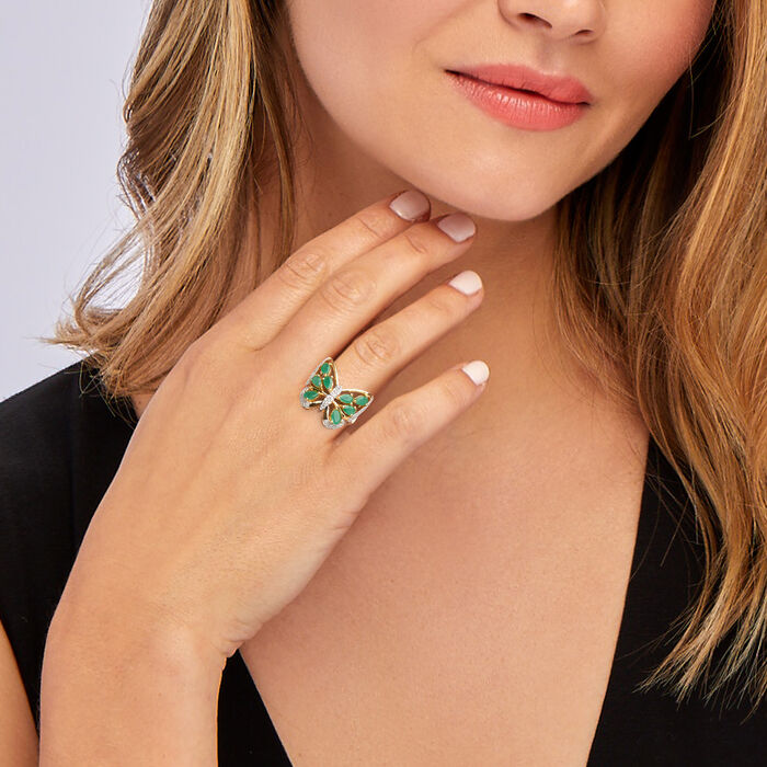 1.75 ct. t.w. Emerald Butterfly Ring with Diamond Accents in 18kt Gold Over Sterling