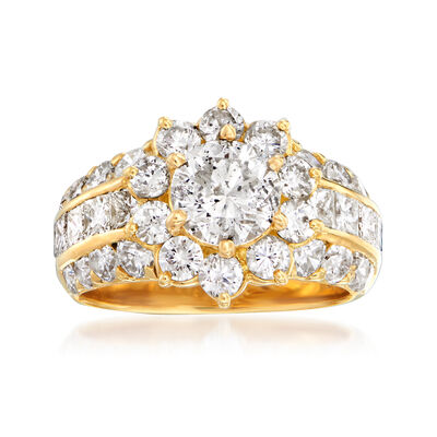 C. 1990 Vintage 3.76 ct. t.w. Diamond Cluster Flower Ring in 18kt Yellow Gold