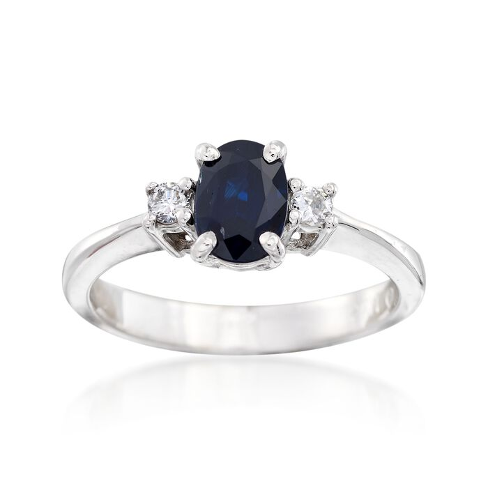 C. 1990 Vintage .95 Carat Sapphire and .10 ct. t.w. Diamond Ring in 14kt White Gold. Size 6.25