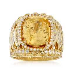 C. 1990 Vintage 10.00 Carat Yellow Sapphire and 4.60 ct. t.w. Diamond Cocktail Ring in 18kt Yellow Gold, , default