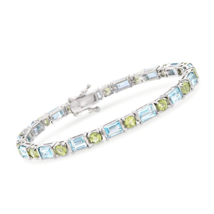 10.00 ct. t.w. Blue Topaz and 3.90 ct. t.w. Peridot Bracelet in Sterling Silver, , default