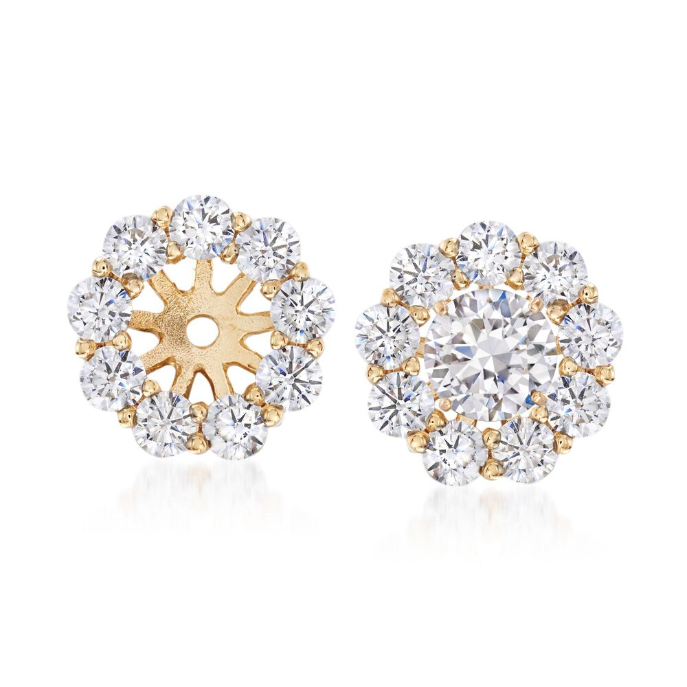 T W Cz Earring Jackets In 14kt Yellow Gold Default