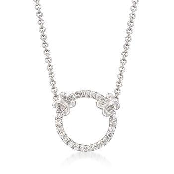 "Gabriel Designs .13 ct. t.w. Diamond Open Circle Necklace in 14kt White Gold. 16"", , default"