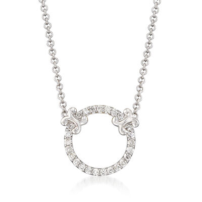 Gabriel Designs .13 ct. t.w. Diamond Open Circle Necklace in 14kt White Gold, , default