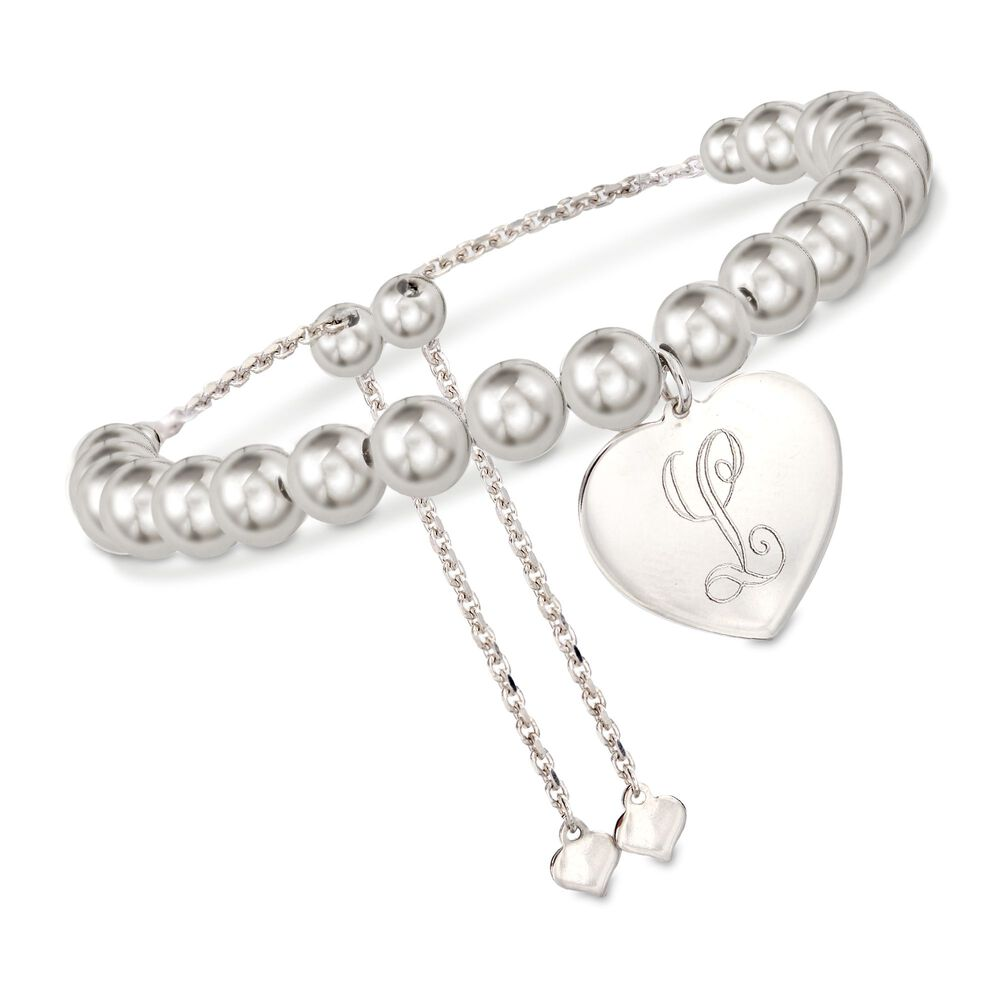 3fd6d5192 Sterling Silver Personalized Heart and Bead Bolo Bracelet | Ross-Simons