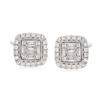 1.03 ct. t.w. Diamond Frame Stud Earrings in 14kt White Gold, , default