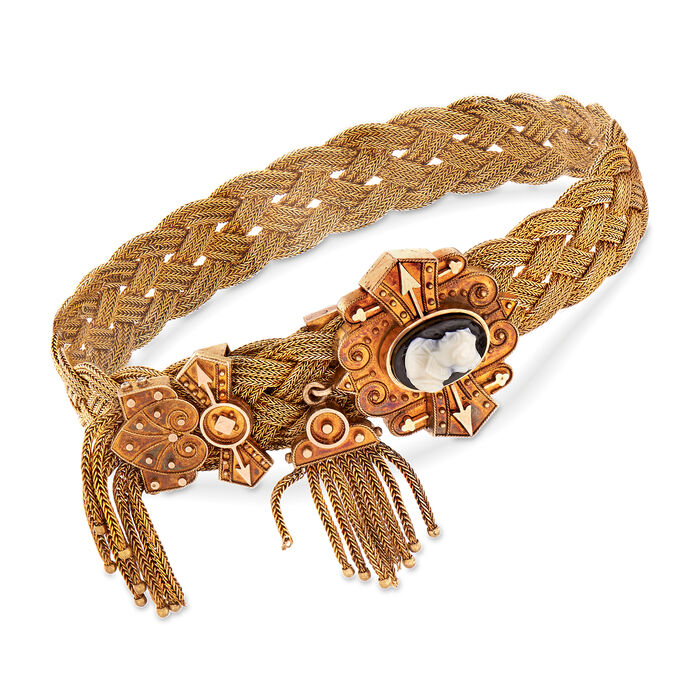 C. 1930 Vintage 18kt Yellow Gold Braided Bracelet with Black Agate Oval Cameo, , default