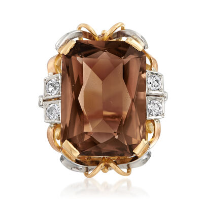 C. 1940 Vintage 11.00 Carat Smoky Quartz and .25 ct. t.w. Diamond Ring in 14kt Yellow Gold
