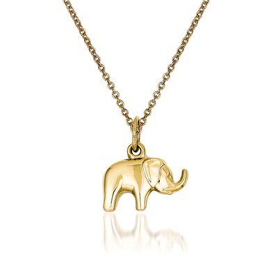14kt Yellow Gold Elephant Pendant Necklace, , default