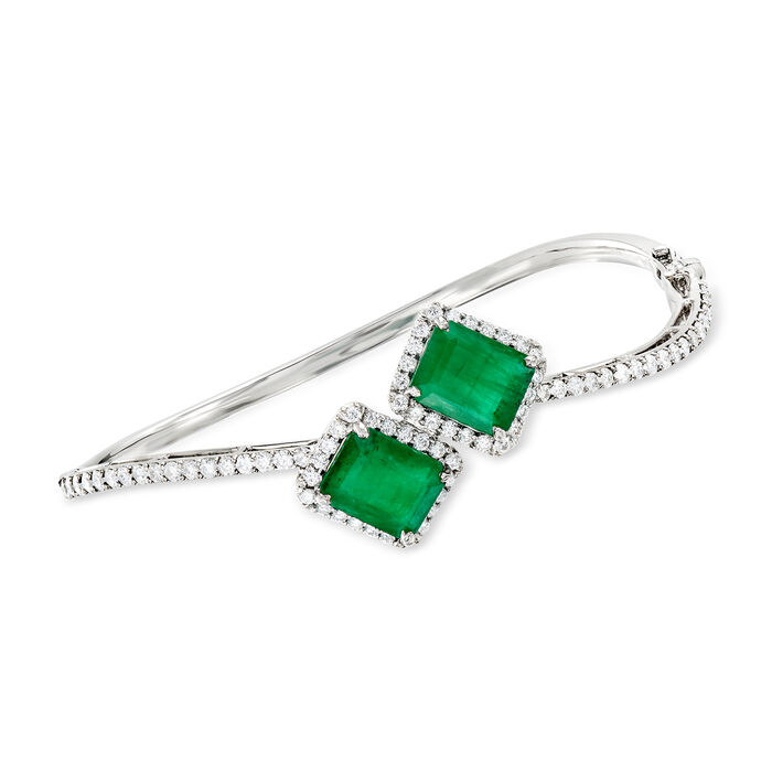 """5.75 ct. t.w. Emerald and 1.60 ct. t.w. Diamond Bangle Bracelet in 18kt White Gold. 7"""""""