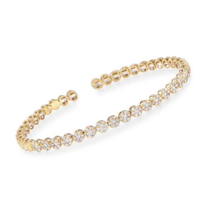 "Simon G. 1.30 ct. t.w. Diamond Flex Cuff Bracelet in 18kt Yellow Gold. 7"", , default"