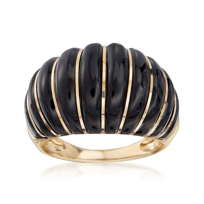 Black Onyx Shrimp Ring in 14kt Yellow Gold, , default