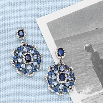 2.40 ct. t.w. Sapphire and .40 ct. t.w. Diamond Drop Earrings in 14kt White Gold
