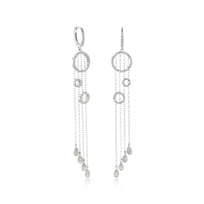 C. 2005 Vintage 1.00 ct. t.w. Diamond Open Circle and Chain Dangle Drop Earrings in 14kt White Gold