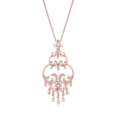 C. 1990 Vintage Stefan Hafner 3.15 ct. t.w. Diamond Fancy Drop Necklace in 18kt Rose Gold, , default