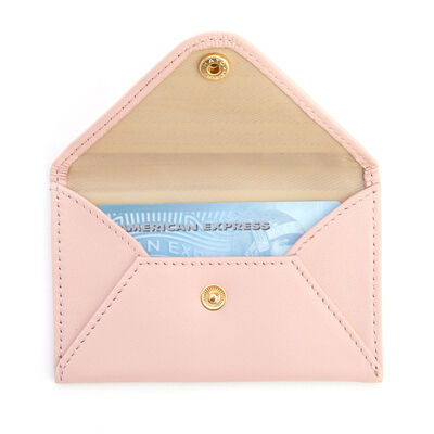Royce Pink Leather Three-Initial Envelope-Style Business Card Holder