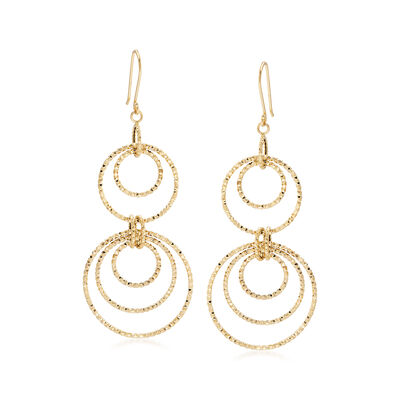 14kt Yellow Gold Textured and Polished Multi-Circle Drop Earrings, , default