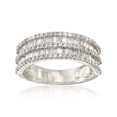 1.00 ct. t.w. Baguette and Round Diamond Ring in 14kt White Gold, , default